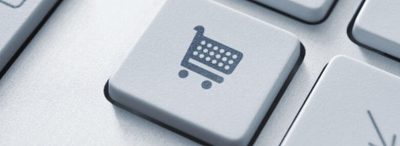 Shopping cart icon and a keyboard key