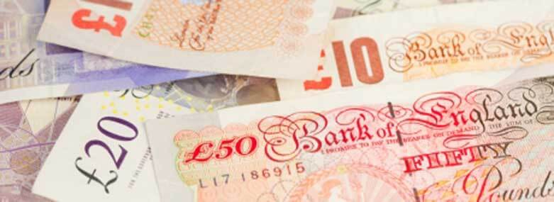 Image of UK Bank Notes of varying denominations, £50, £20 and £10 Notes