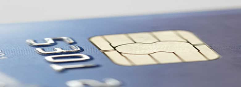 close up of a credit card chip