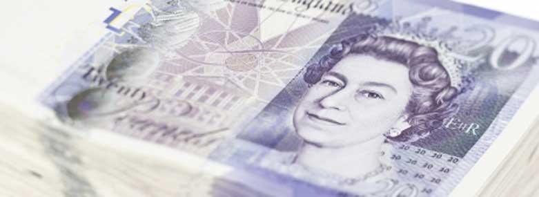 Pile of twenty pound notes