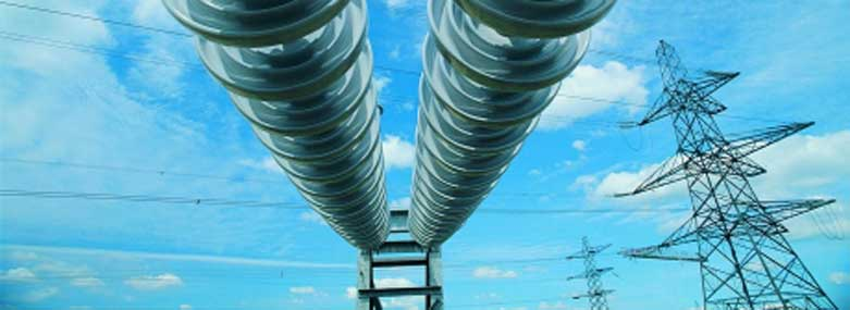 Image of electricity pylons and insulator discs
