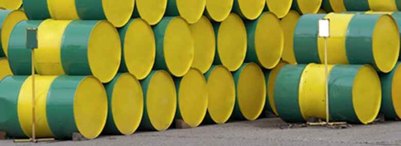 Green and yellow oil drums