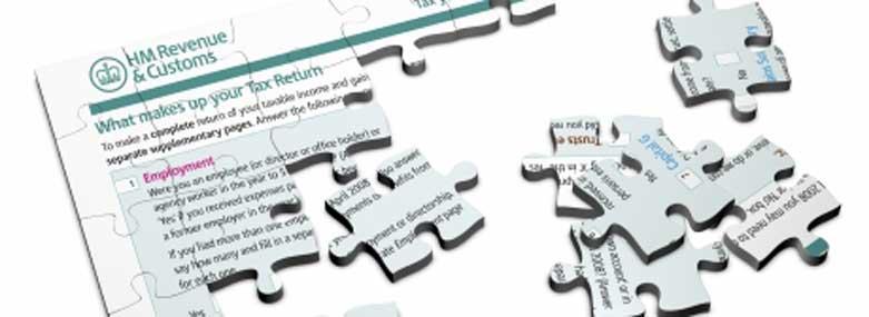 Tax return form as a jigsaw puzzle