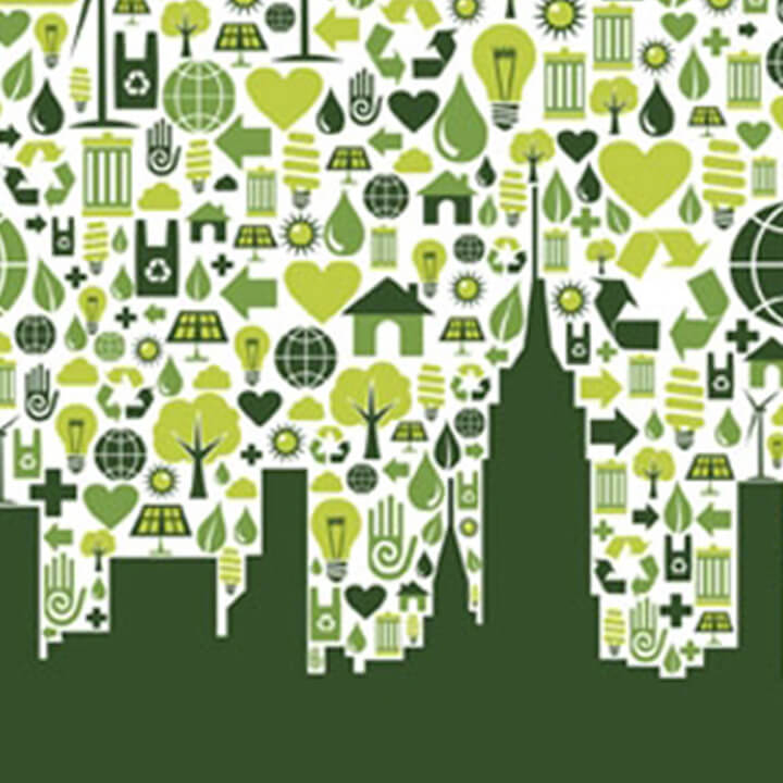 Green cityscape with various green icons behind