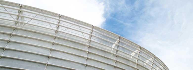 Edge of a stadium building