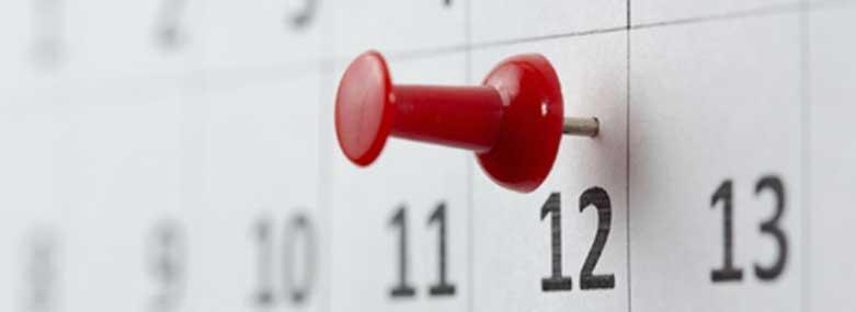 red pin in a calendar