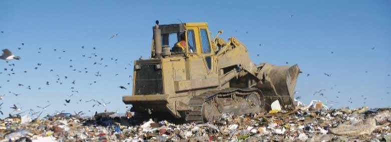 tractor on a landfill site