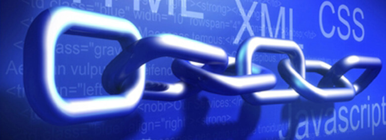 chains with web terms on a blue background behind, XML, CSS and Javascript