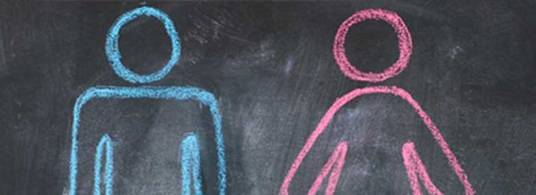 Man and woman drawn on a chalkboard