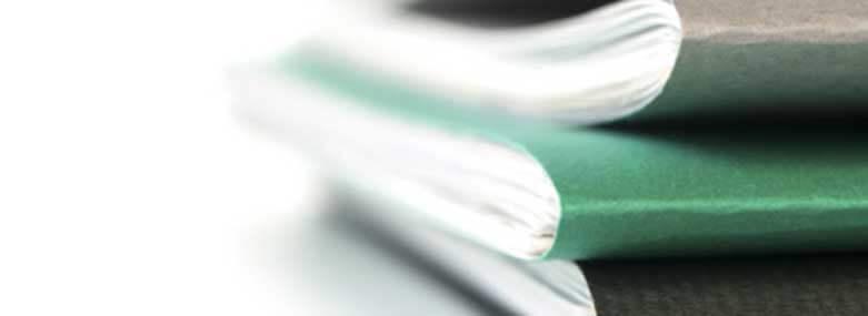 3 green paper folders of documents