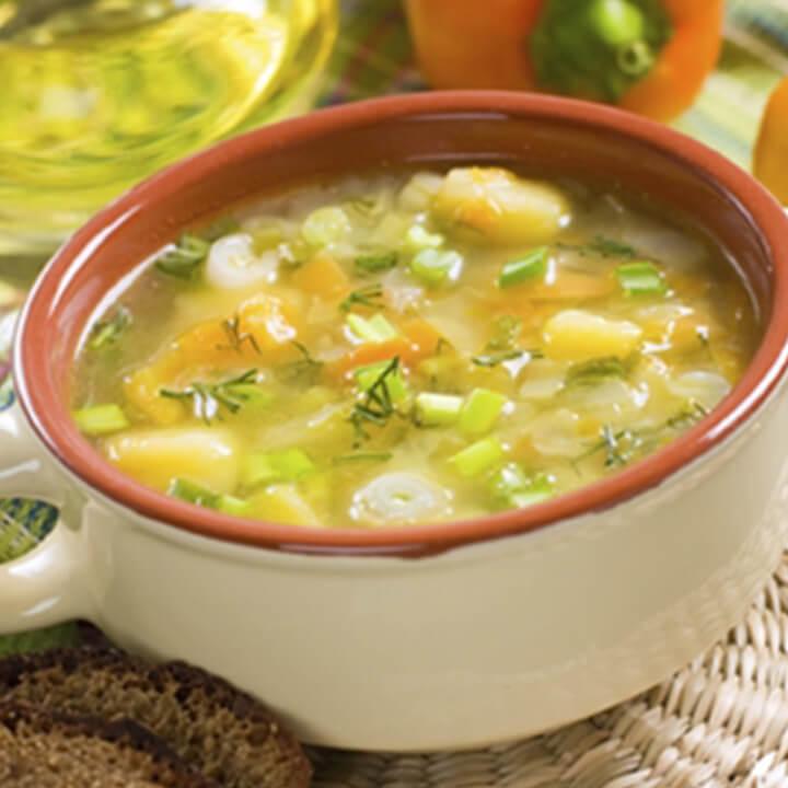 A bowl of vegatable soup