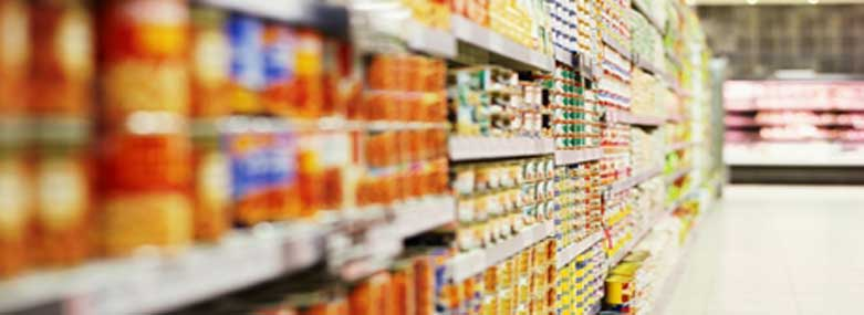 Groceries on a supermarket shelves