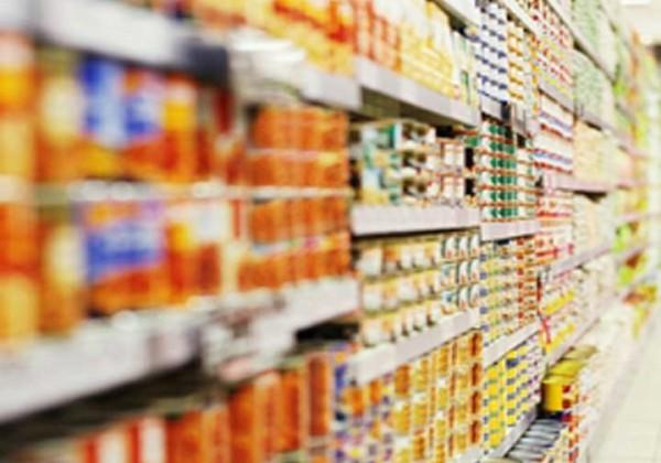 canned food on supermarket shelves