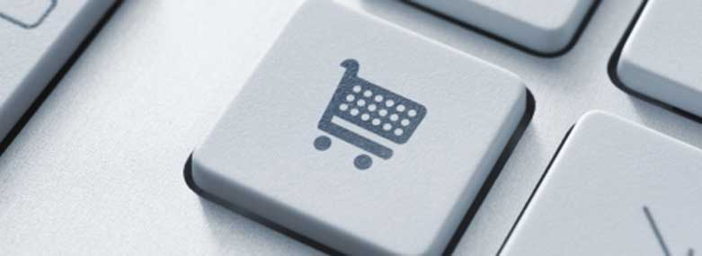 Shopping cart icon on a computer keyboard key