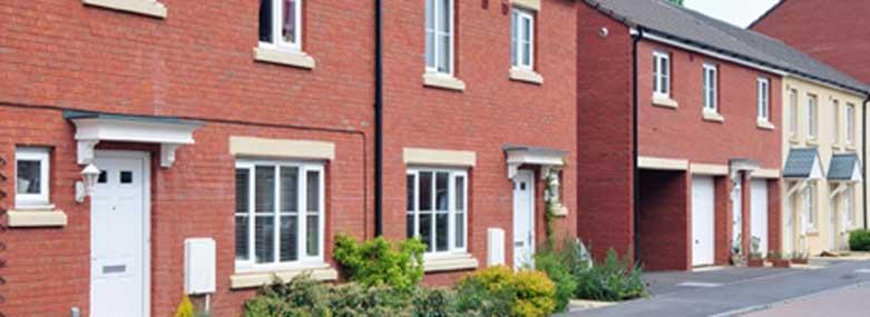 row of new terrace houses