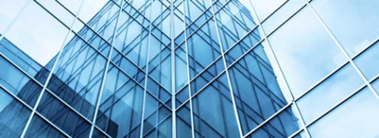 Corner in a glass skyscraper