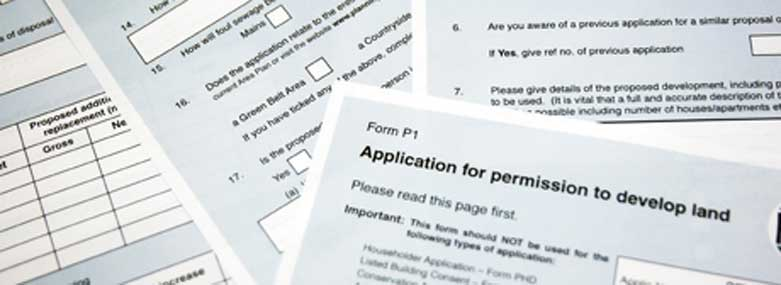 Image of multimple copies of Form P1 Application for permission to develop land