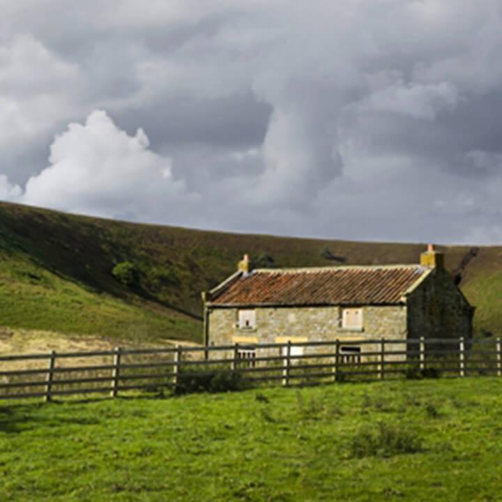 farmhouse on a hillside