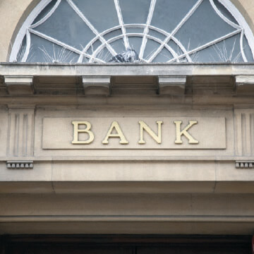 "The word ""Bank"" on a lintel"