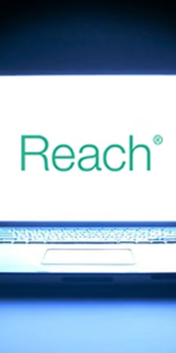 Reach, Walker Morris' free, secure extranet service for clients shown on a laptop