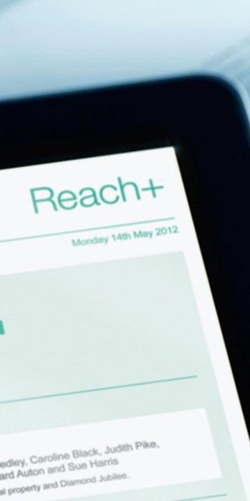Reach, Walker Morris' free, secure extranet service for clients shown on an iPad