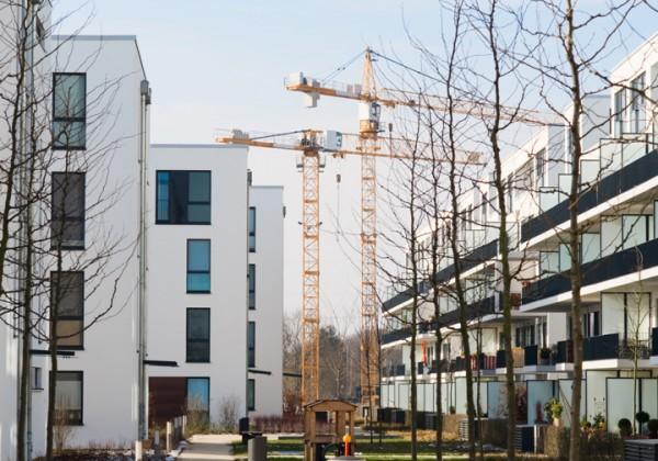 Crane In Housing Area