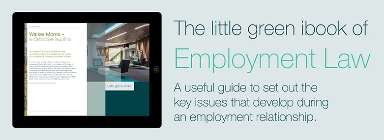 Tablet screen showing Walker Morris reception and text relating to Employment law