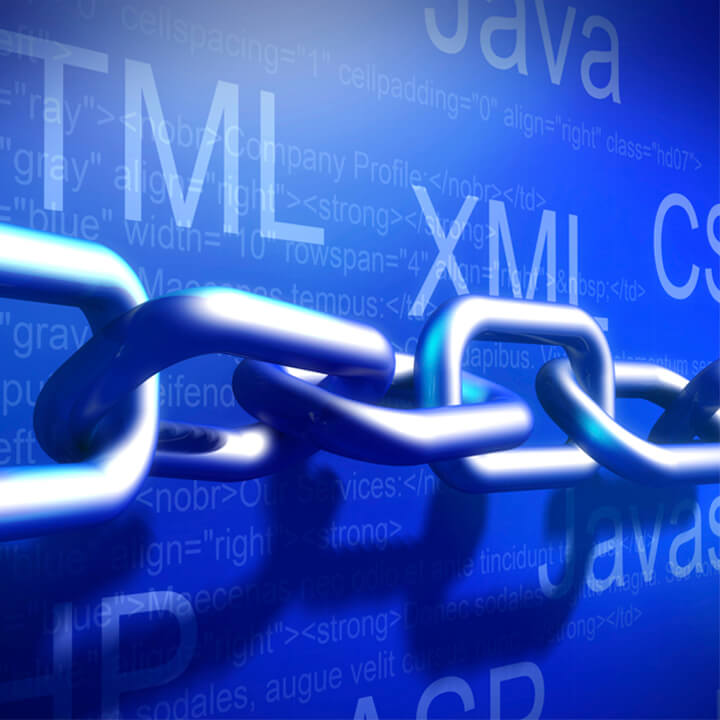 Metal chain with a blue background behind and programming code names