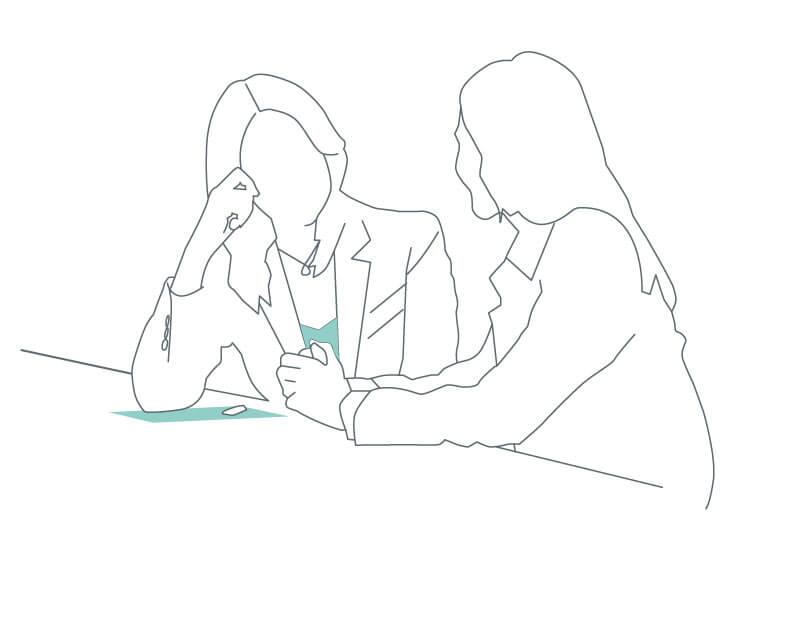 line drawing of two women talking