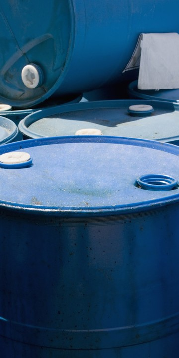 Blue oil containers