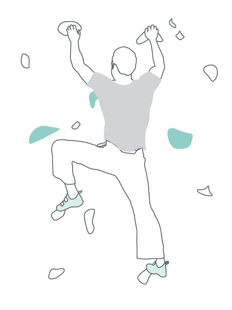 line drawing of a man climbing a climbing wall