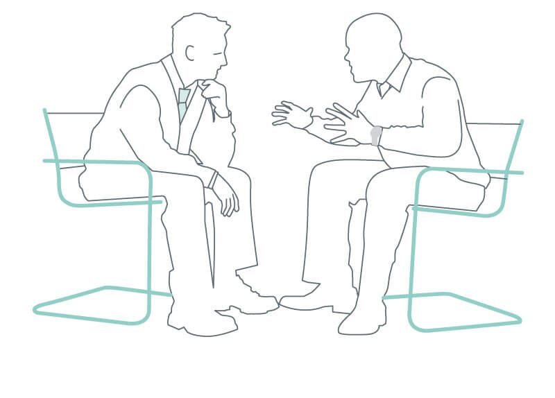 line drawing of two men sat talking