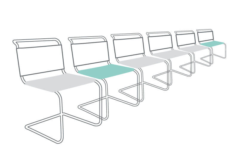 line drawing of six seats