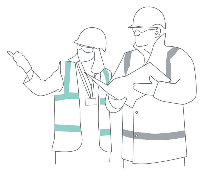 Line drawing of a man and a woman wearing hard hats looking at plans.