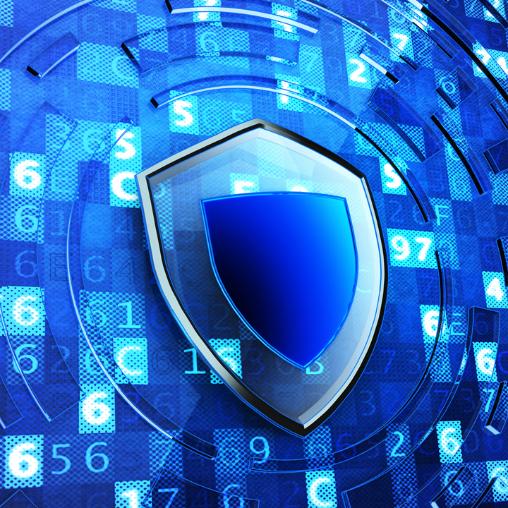 Shield defense on blue technology background with digital code