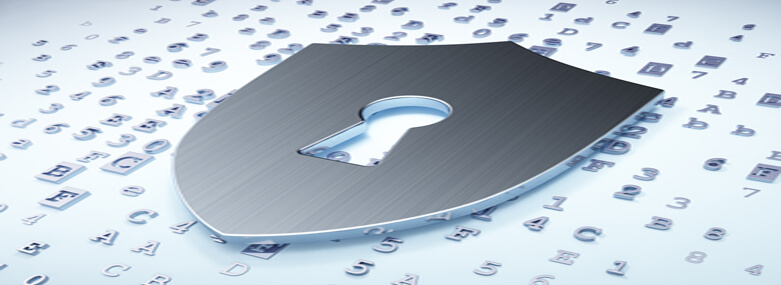 Privacy concept: Silver Shield With Keyhole on digital background, 3d render