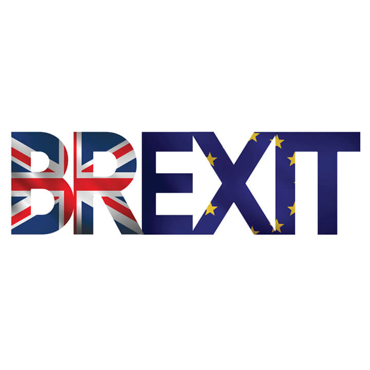 Brexit sign - with Union Jack and European Union Flag fill.