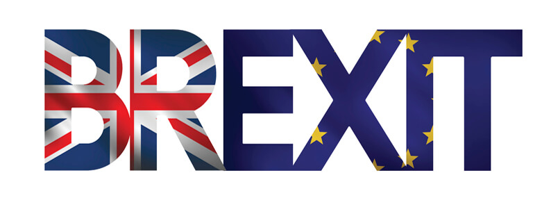 Brexit sign with Union Jack and European Union flag