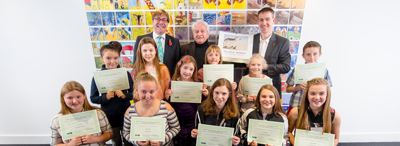 Calendar Competition Presentation November 2016 with David Smedley - Employment Partner, Ashley Jackson - Artist Dean Poole, West Yorkshire Printing and Competition Winners