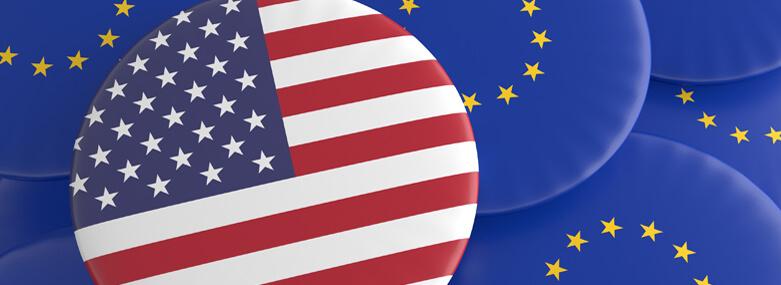 USA and European union flag