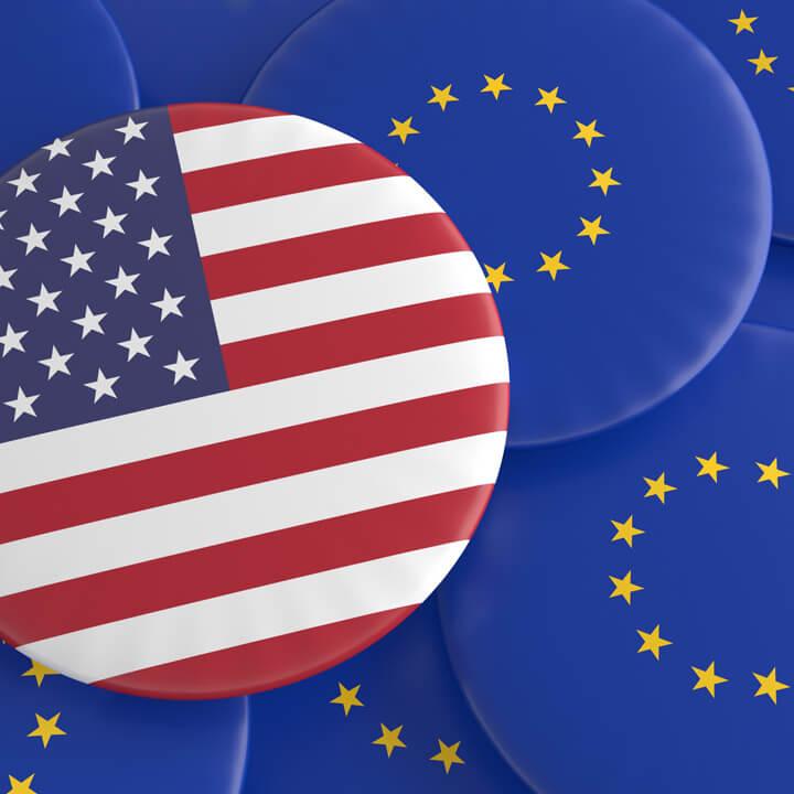 USA And The European Union: US, EU Flag Badges, illustration