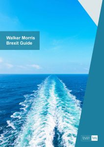 Ships wake with text Walker Morris Brexit Guide
