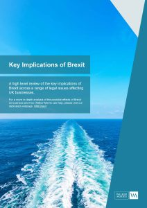 Ships wake with text about key implications of Brexit and Walker Morris logo