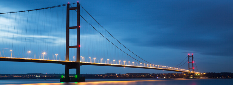 Humber bridge by night.