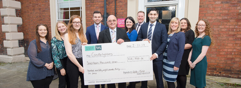 Walker Morris presents Candlelighters with cheque - Nov 2017