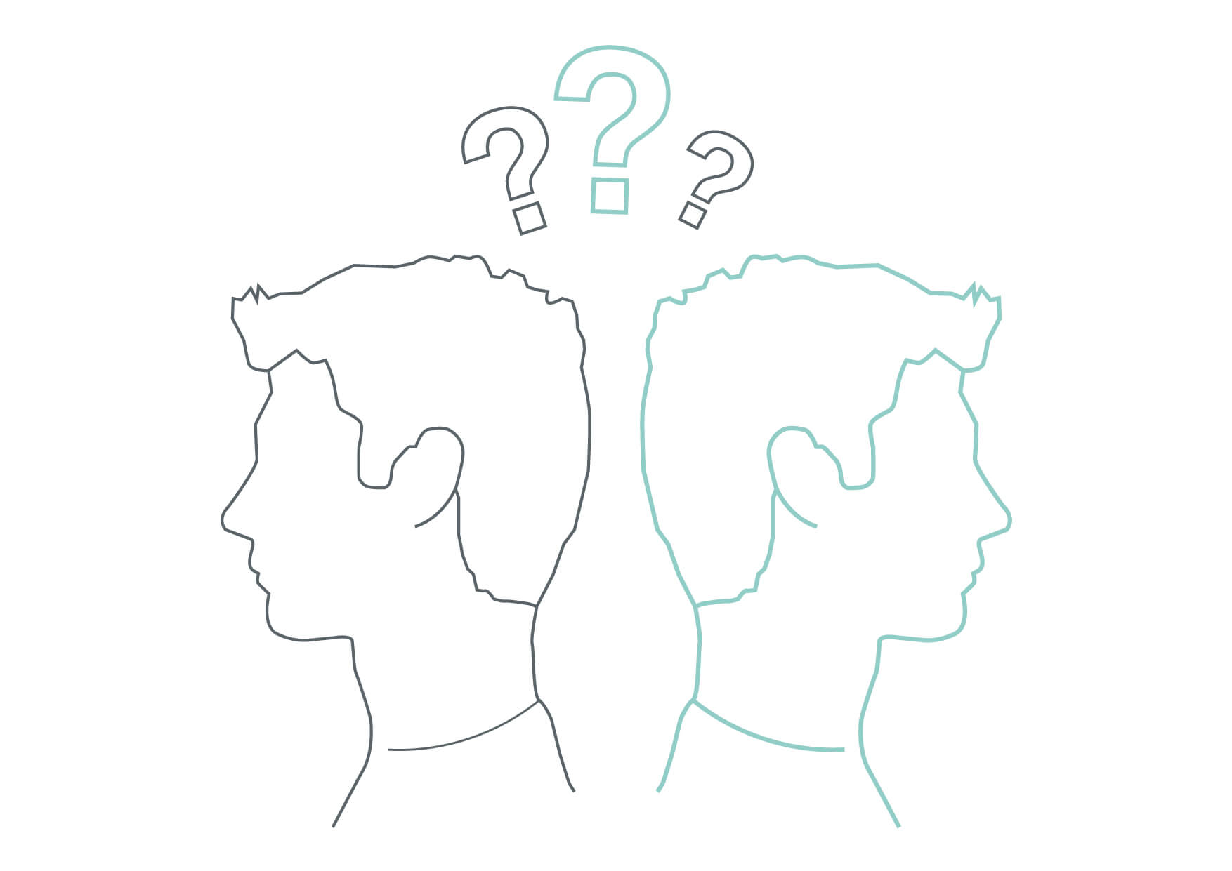 Line drawing of two people back to back with question marks abover their heads