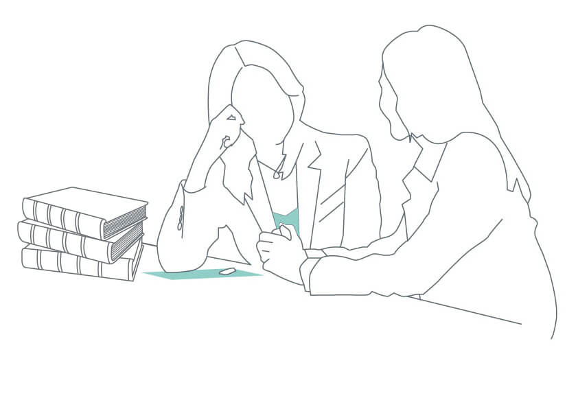 line drawing of people talking in front of a pile of books