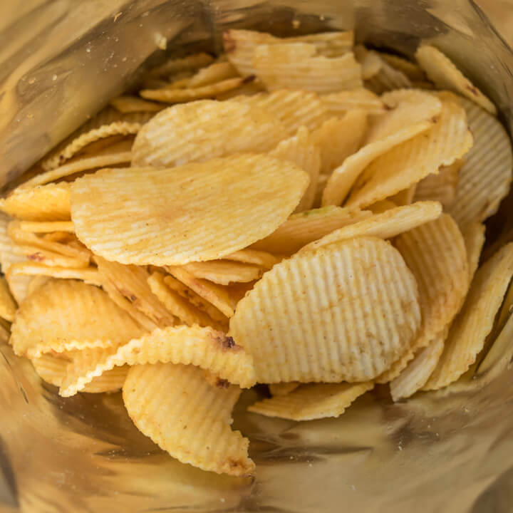 crisps potato chips in bag ready to eat