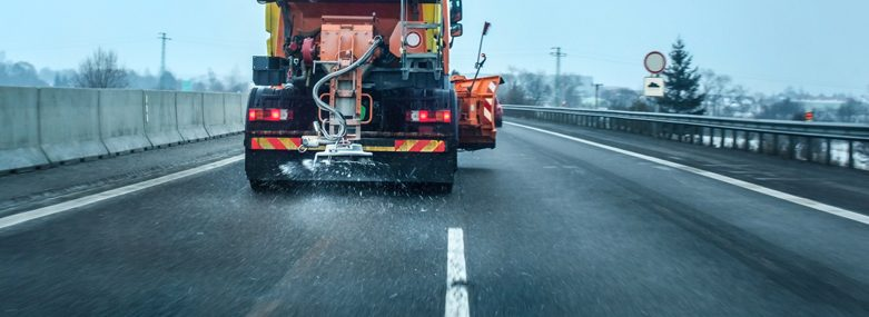 Gritter on a Motorway