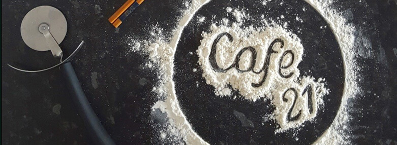 Cafe 21 logo in flour